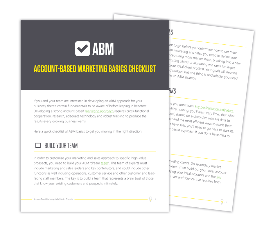 Wanting to implement Account-Based Marketing within your organization? This basics checklist will cover everything you need to get your business started on the right foot.
