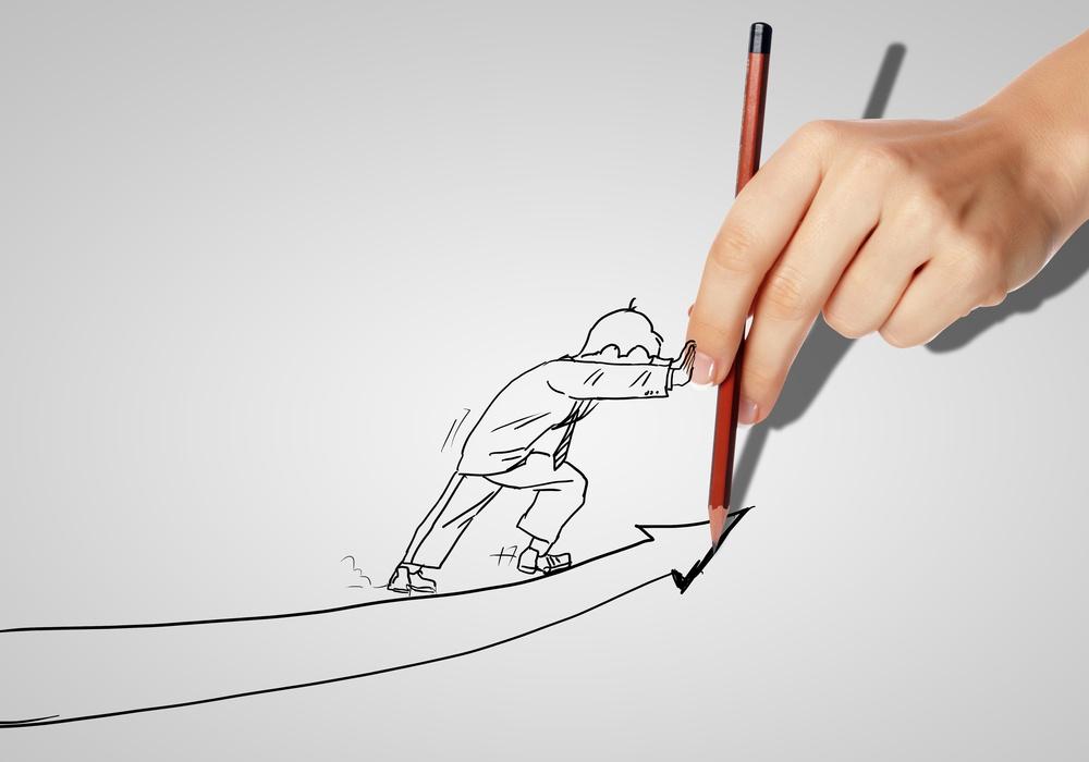 Business Man Upward Arrow