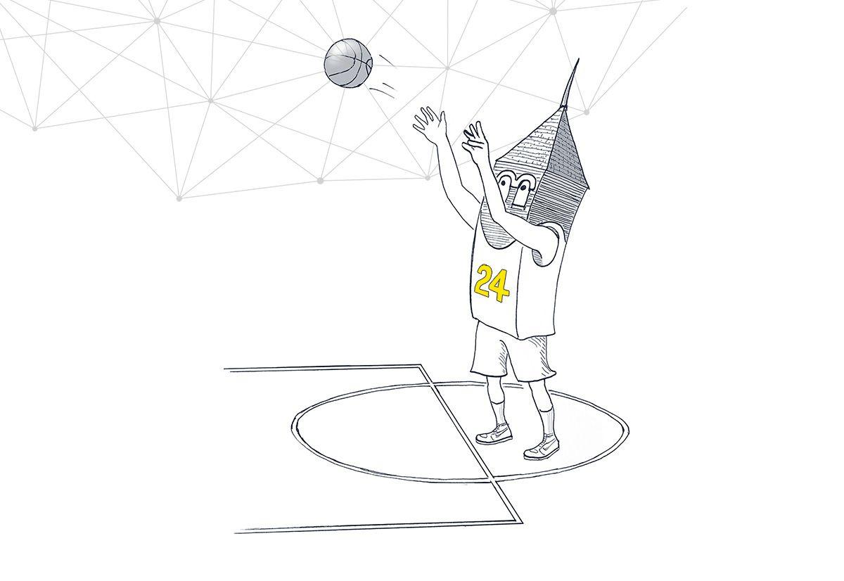 Building character playing basketball