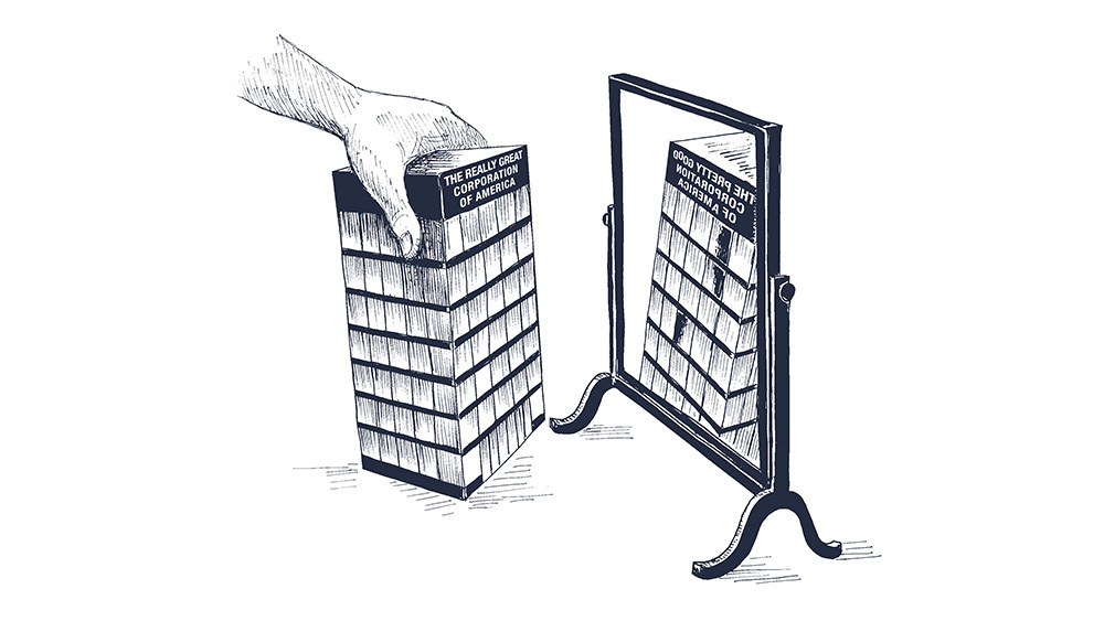 Building and Mirror Illustration